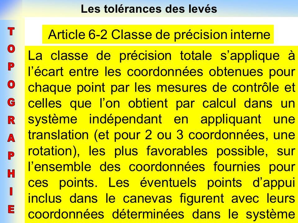 Les tolérances des levés Article 6-2 Classe de précision interne La classe de précision totale sapplique à lécart entre les coordonnées obtenues pour