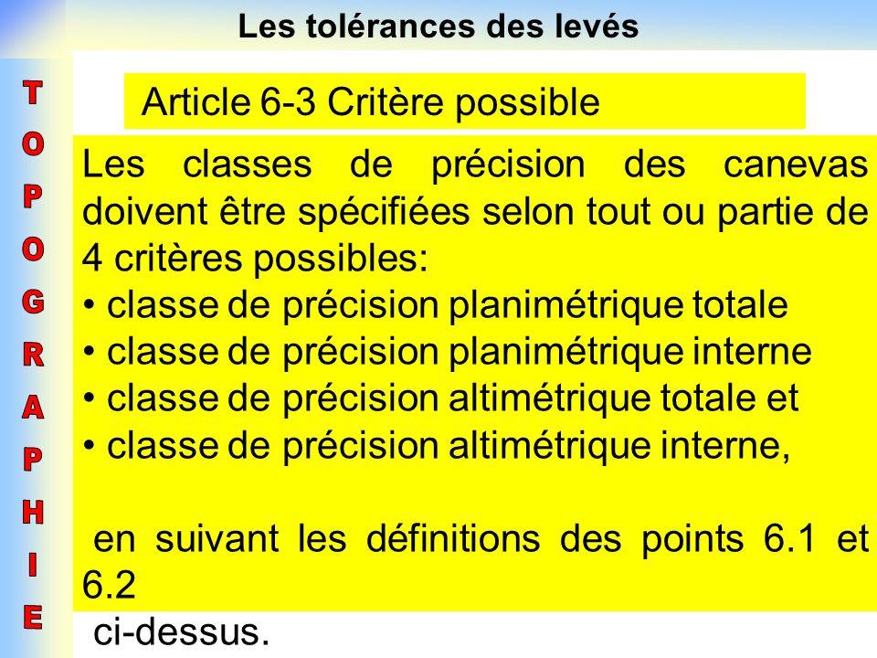 Les tolérances des levés Article 6-3 Critère possible Les classes de précision des canevas doivent être spécifiées selon tout ou partie de 4 critères
