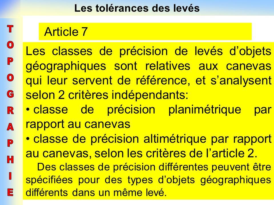 Les tolérances des levés Article 7 Les classes de précision de levés dobjets géographiques sont relatives aux canevas qui leur servent de référence, e