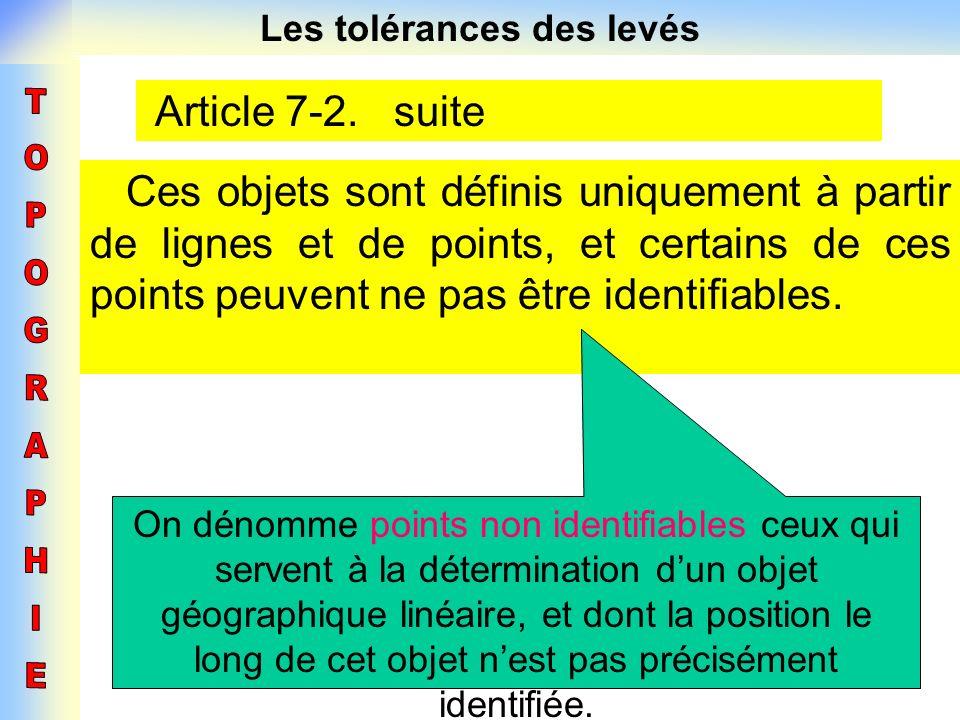Les tolérances des levés Article 7-2. suite Ces objets sont définis uniquement à partir de lignes et de points, et certains de ces points peuvent ne p