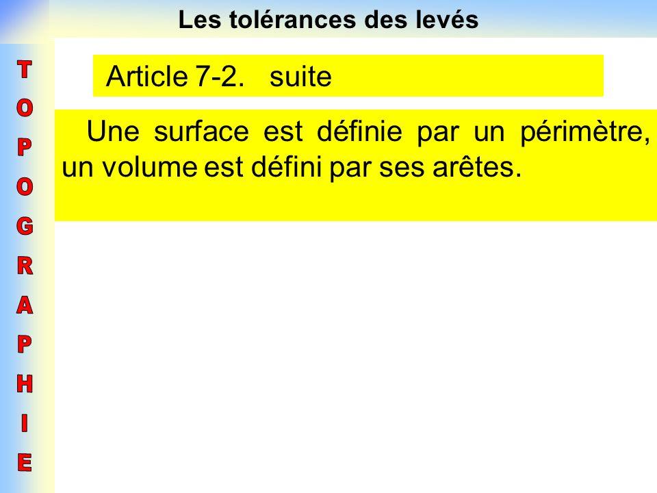 Les tolérances des levés Article 7-2. suite Une surface est définie par un périmètre, un volume est défini par ses arêtes.
