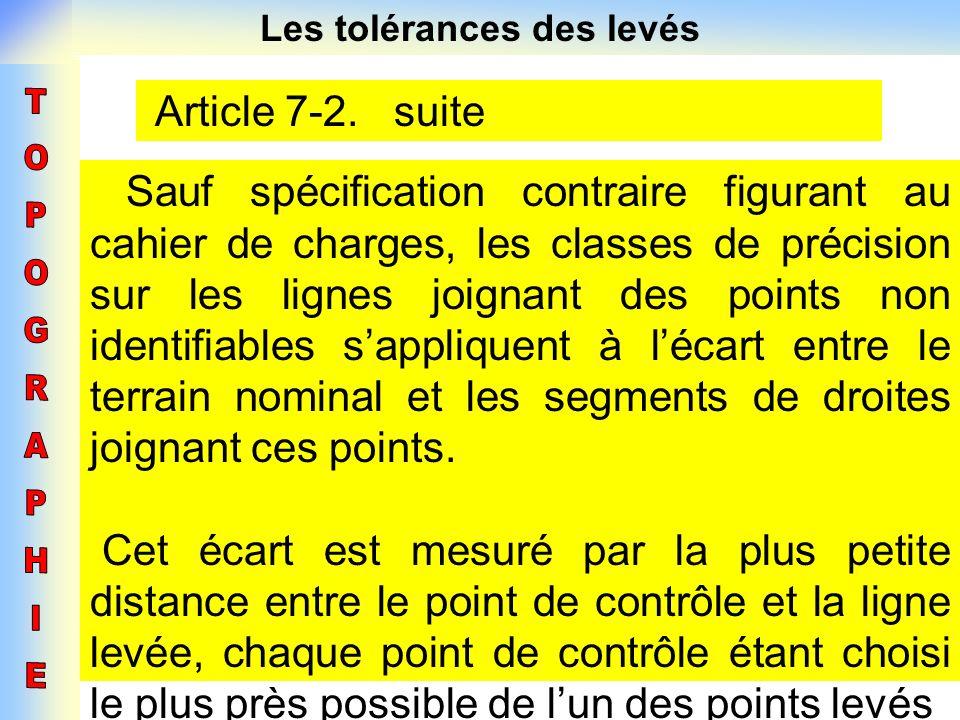 Les tolérances des levés Article 7-2. suite Sauf spécification contraire figurant au cahier de charges, les classes de précision sur les lignes joigna