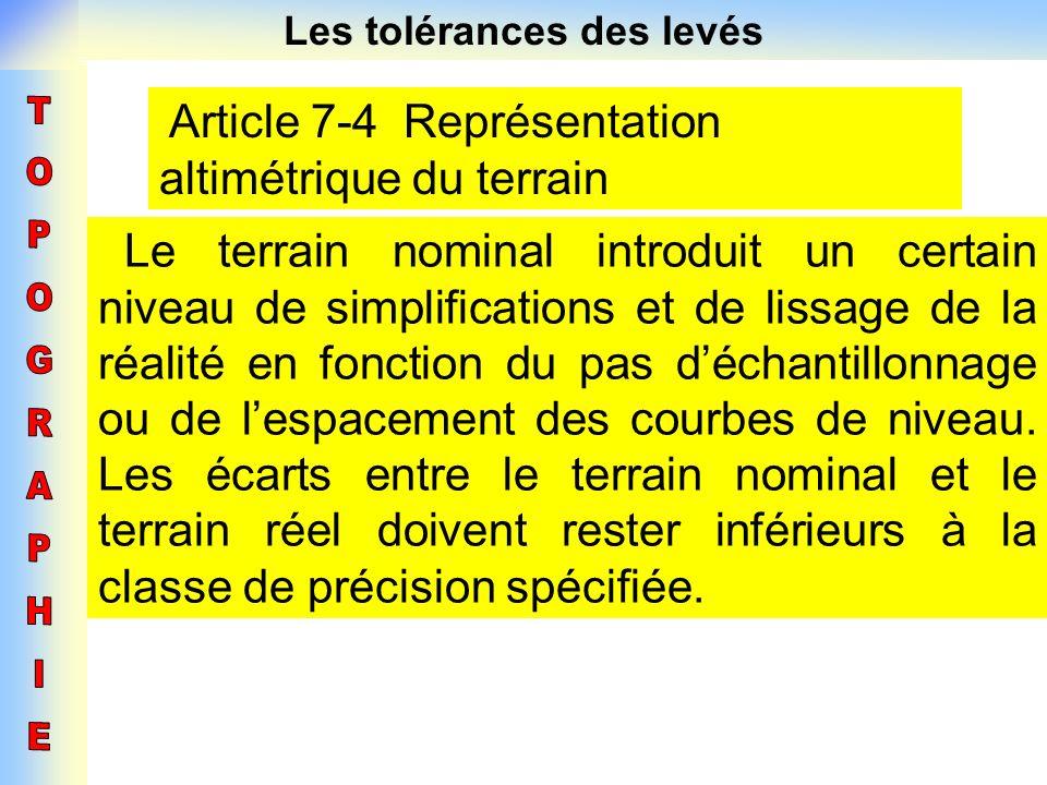Les tolérances des levés Article 7-4 Représentation altimétrique du terrain Le terrain nominal introduit un certain niveau de simplifications et de li