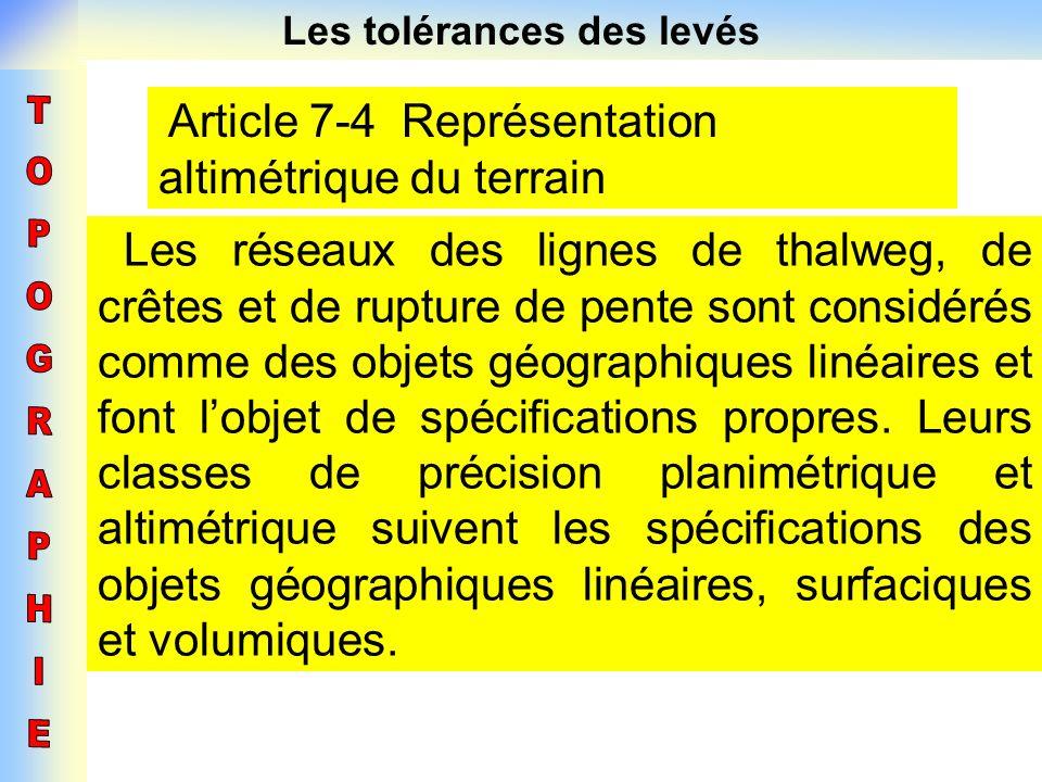 Les tolérances des levés Article 7-4 Représentation altimétrique du terrain Les réseaux des lignes de thalweg, de crêtes et de rupture de pente sont c