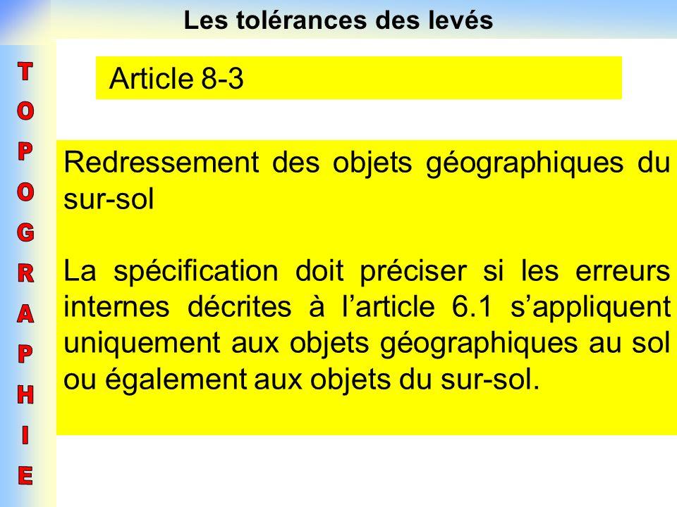 Les tolérances des levés Article 8-3 Redressement des objets géographiques du sur-sol La spécification doit préciser si les erreurs internes décrites