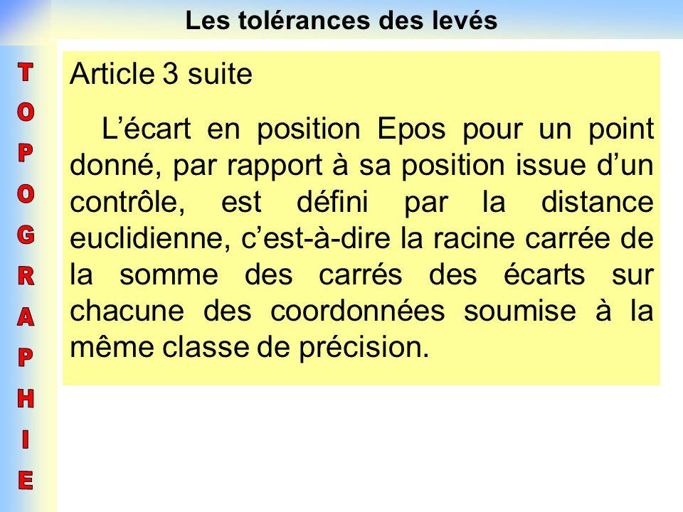 Les tolérances des levés Article 3 suite Lécart en position Epos pour un point donné, par rapport à sa position issue dun contrôle, est défini par la