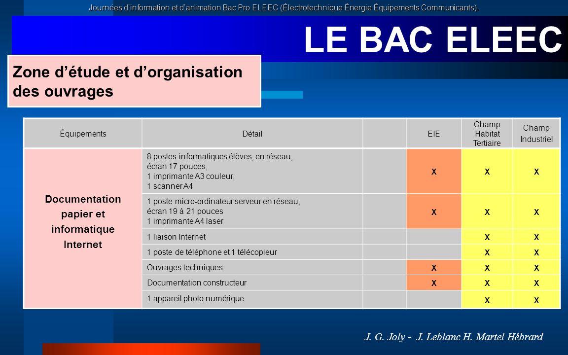 Journées dinformation et danimation Bac Pro ELEEC (Électrotechnique Énergie Équipements Communicants). LE BAC ELEEC ÉquipementsDétailEIE Champ Habitat