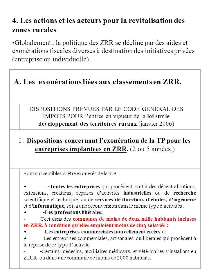 4. Les actions et les acteurs pour la revitalisation des zones rurales Globalement, la politique des ZRR se décline par des aides et exonérations fisc