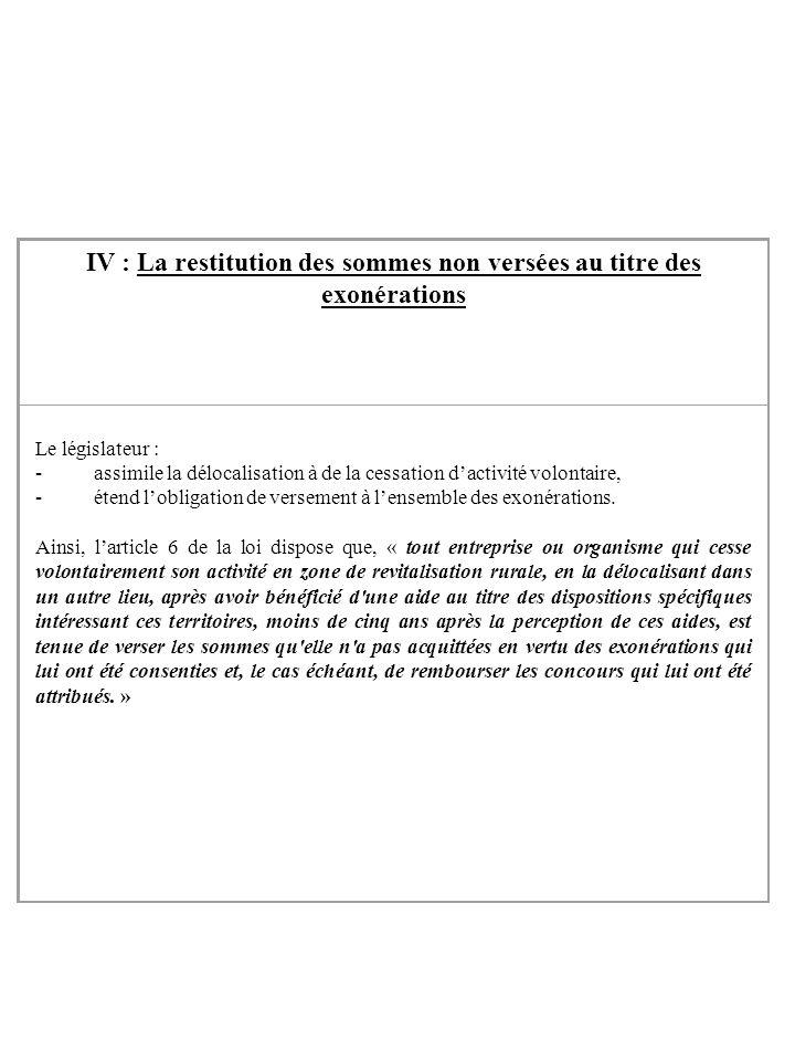 IV : La restitution des sommes non versées au titre des exonérations Le législateur : - assimile la délocalisation à de la cessation dactivité volonta