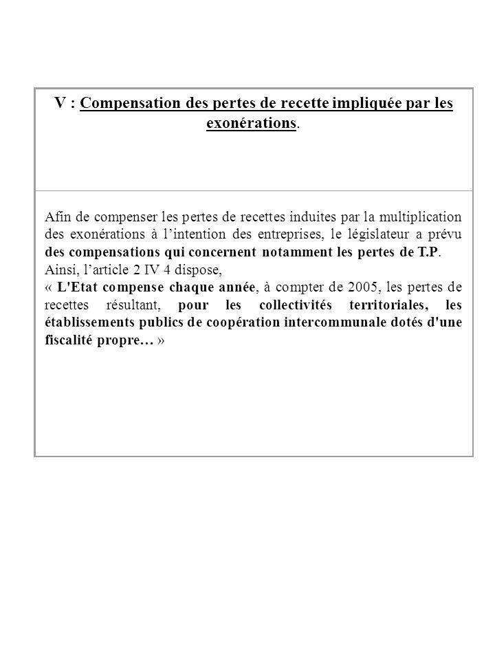 V : Compensation des pertes de recette impliquée par les exonérations. Afin de compenser les pertes de recettes induites par la multiplication des exo