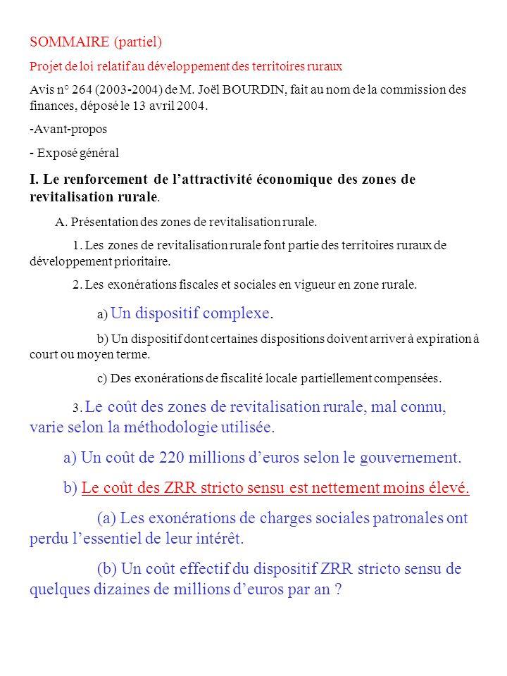 SOMMAIRE (partiel) Projet de loi relatif au développement des territoires ruraux Avis n° 264 (2003-2004) de M. Joël BOURDIN, fait au nom de la commiss