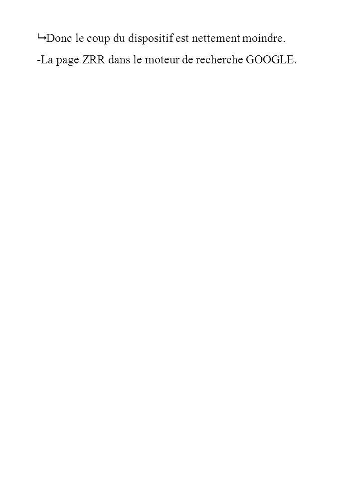 Donc le coup du dispositif est nettement moindre. -La page ZRR dans le moteur de recherche GOOGLE.