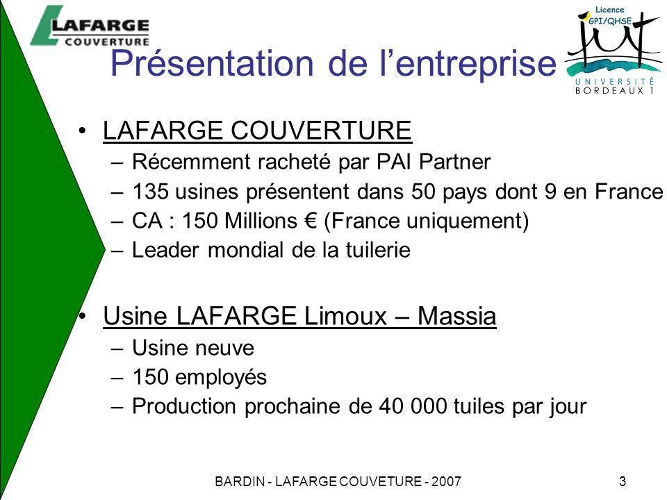 BARDIN - LAFARGE COUVETURE - 20074 Description du sujet de stage Mise en place de documentations HSE –Procédure de gestion des EE (plan de prévention) –Procédure de gestion des produits chimiques