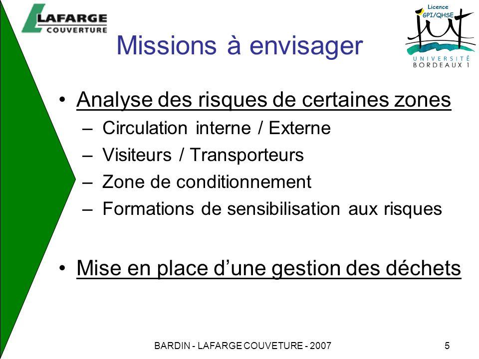 BARDIN - LAFARGE COUVETURE - 20075 Missions à envisager Analyse des risques de certaines zones – Circulation interne / Externe – Visiteurs / Transport