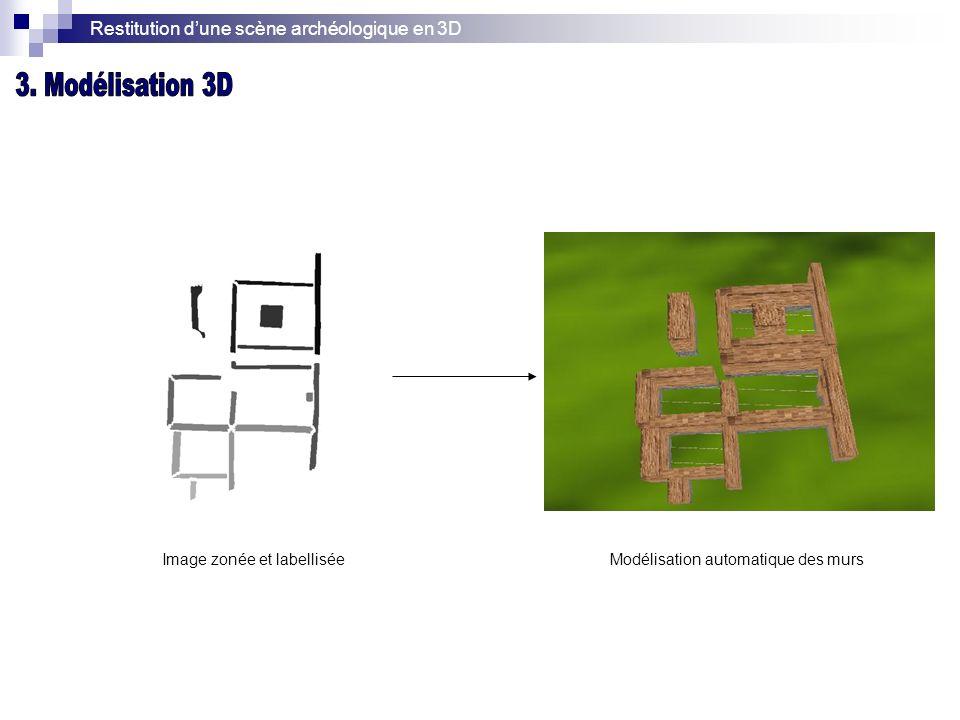 Restitution dune scène archéologique en 3D Image zonée et labelliséeModélisation automatique des murs