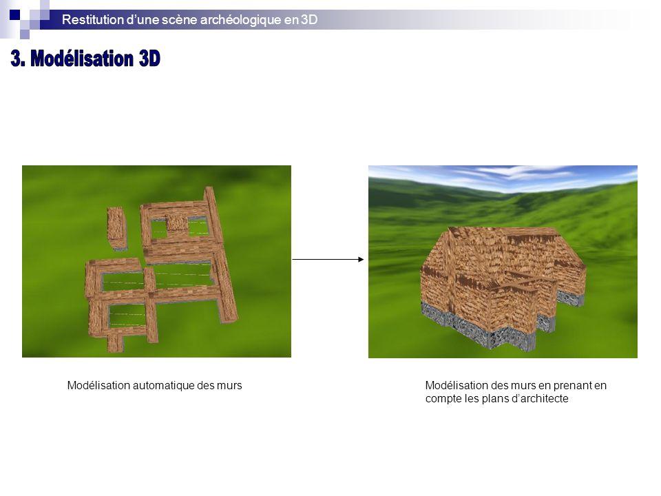 Restitution dune scène archéologique en 3D Modélisation automatique des mursModélisation des murs en prenant en compte les plans darchitecte