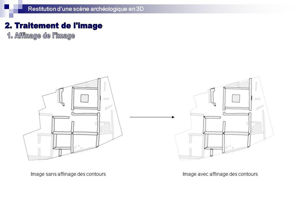 Restitution dune scène archéologique en 3D Image sans affinage des contoursImage avec affinage des contours
