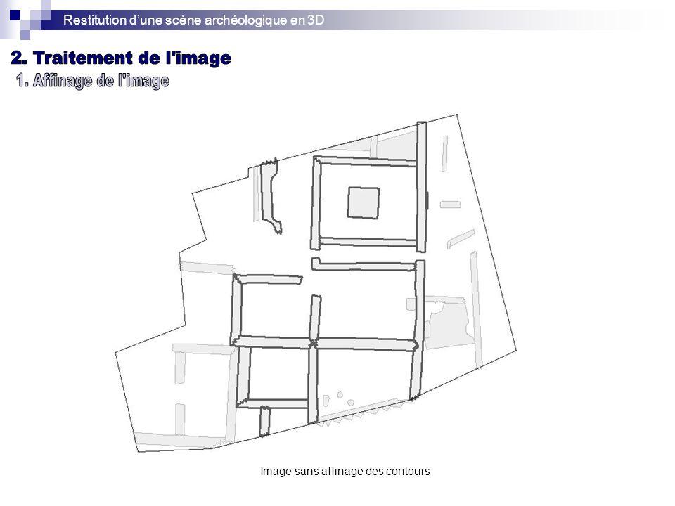 Restitution dune scène archéologique en 3D Image sans affinage des contours