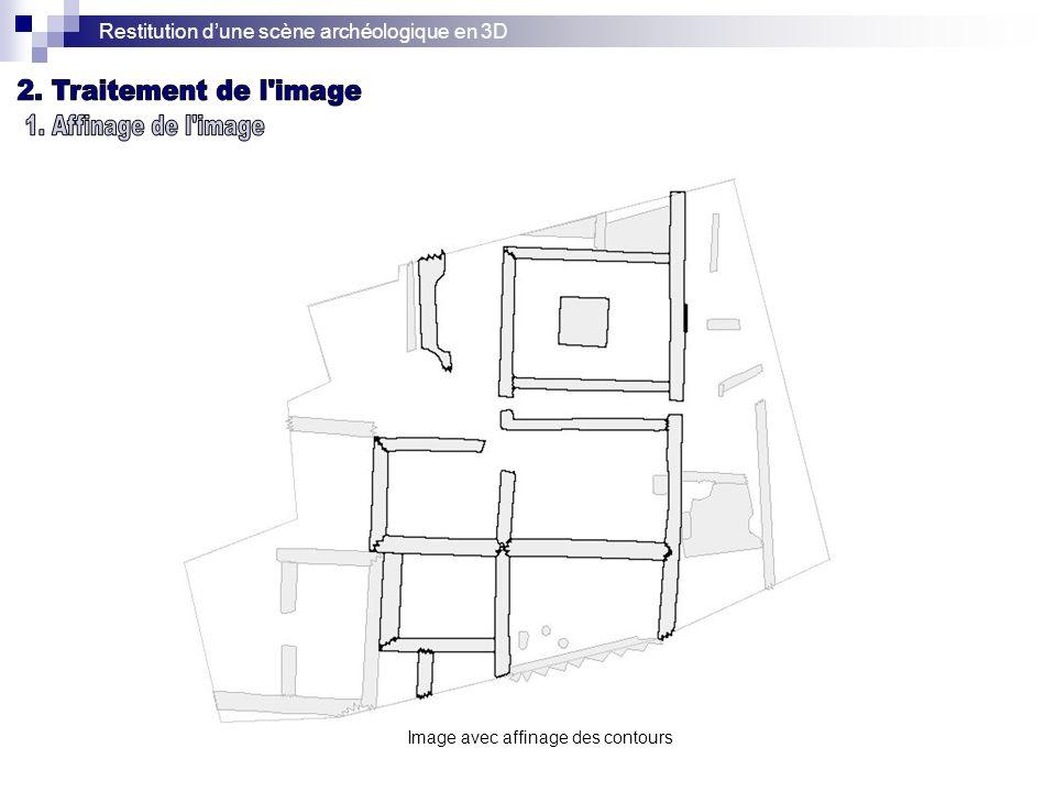 Restitution dune scène archéologique en 3D Image avec affinage des contours