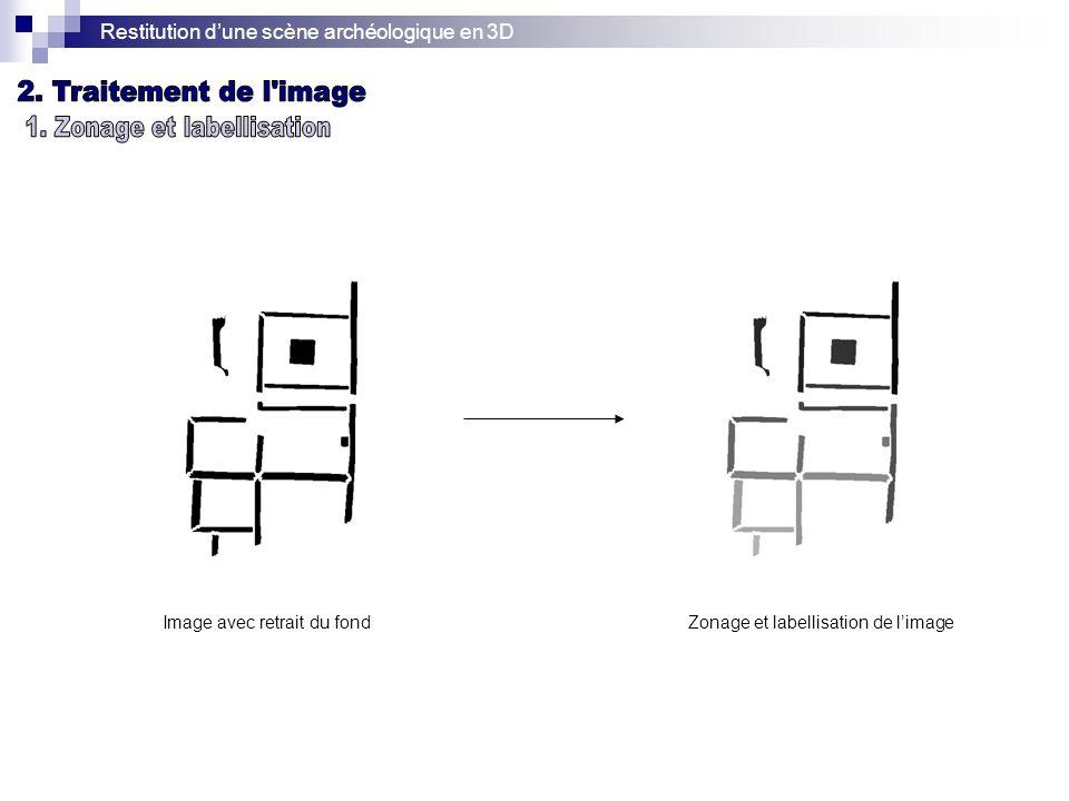 Restitution dune scène archéologique en 3D Image avec retrait du fondZonage et labellisation de limage