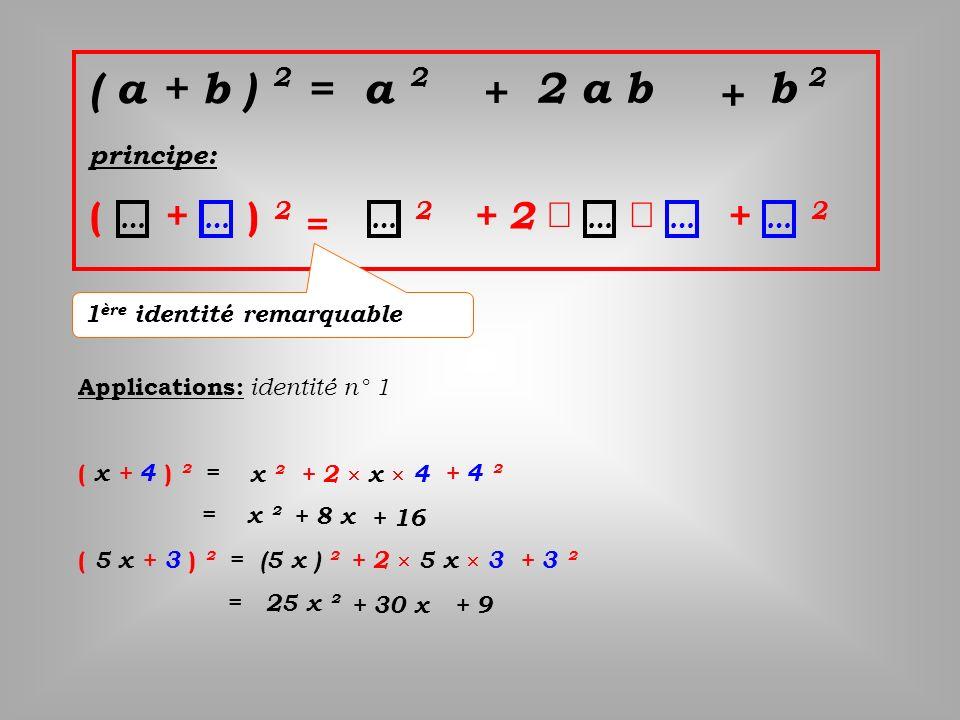 ( a + b ) 2 = a 2 principe: ( + ) 2 = 2 +2 + 2 ……………… + 2 a b 2 b + 1 ère identité remarquable Applications: i dentité n° 1 ( x + 4 ) ² = ( 5 x + 3 )