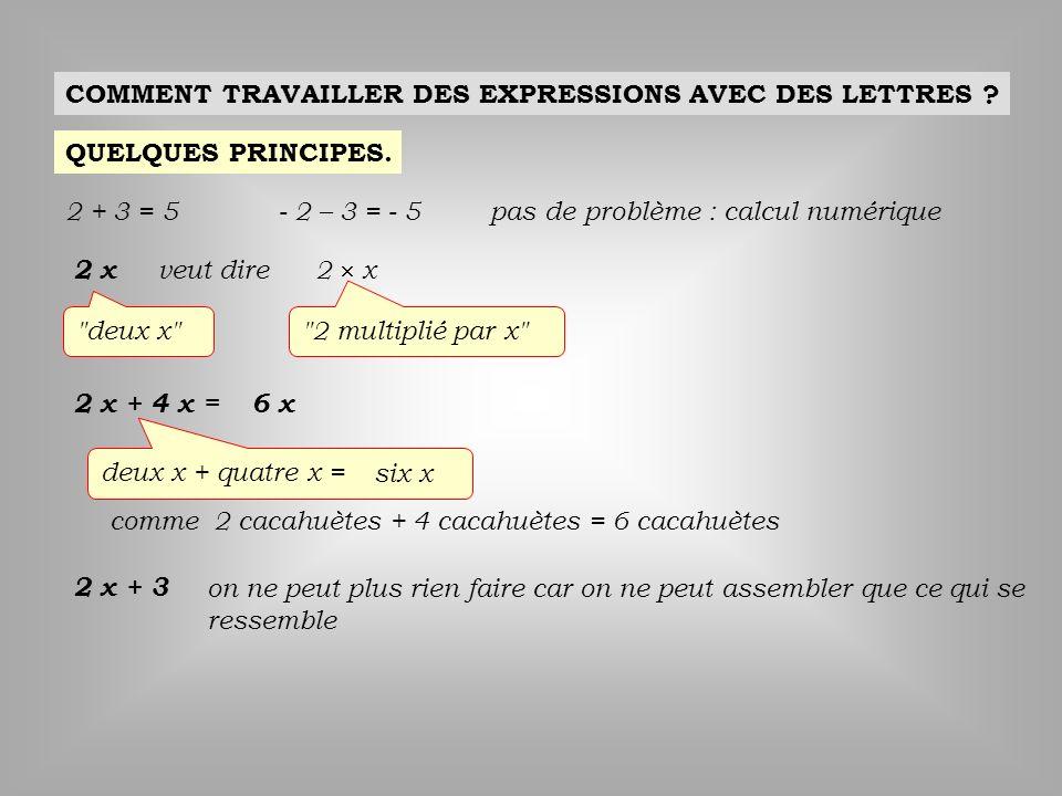 COMMENT TRAVAILLER DES EXPRESSIONS AVEC DES LETTRES ? QUELQUES PRINCIPES. 2 + 3 = 5- 2 – 3 = - 5pas de problème : calcul numérique 2 x veut dire