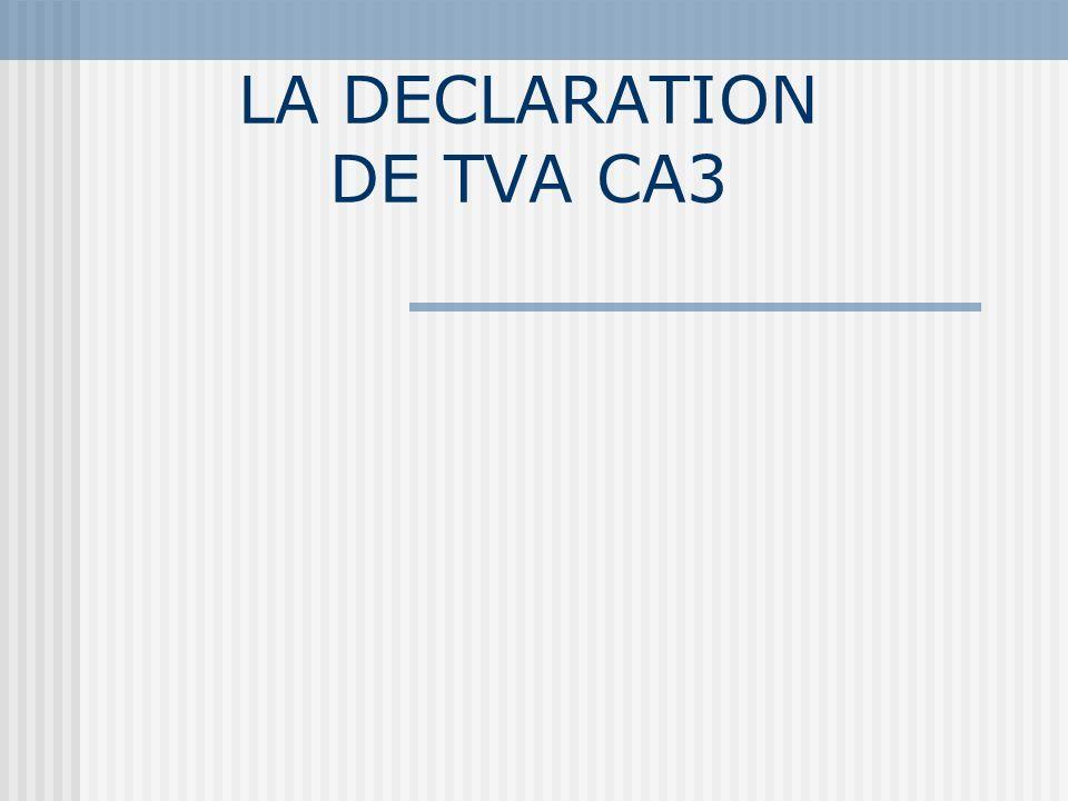 Schéma comptable de lécriture de TVA : Cas dun crédit de TVA NuméroLibellé du compteDC 44571TVA collectéex 44562TVA déductible sur immobilisations X 44566TVA déductible sur ABSX 44567Crédit de TVA mois M-1X 44567Crédit de TVA à reporterX 658 ou 758 Charges de gestion courante Produits de gestion courante X X Montants comptables Montant de la ligne 25 de la déclaration