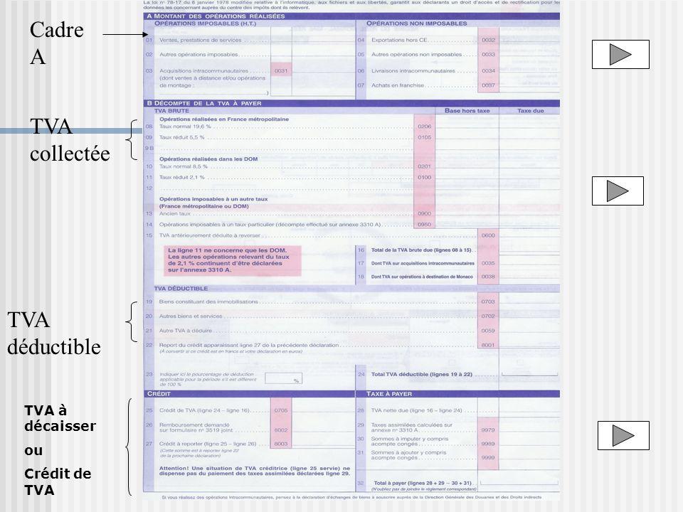 TVA collectée TVA déductible Cadre A TVA à décaisser ou Crédit de TVA