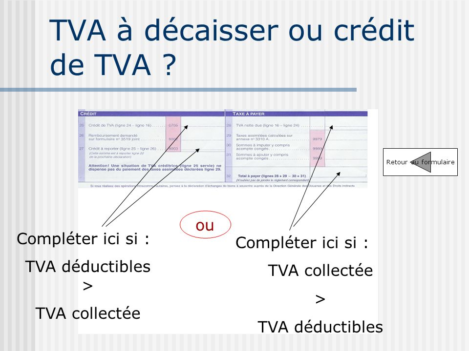 TVA à décaisser ou crédit de TVA .