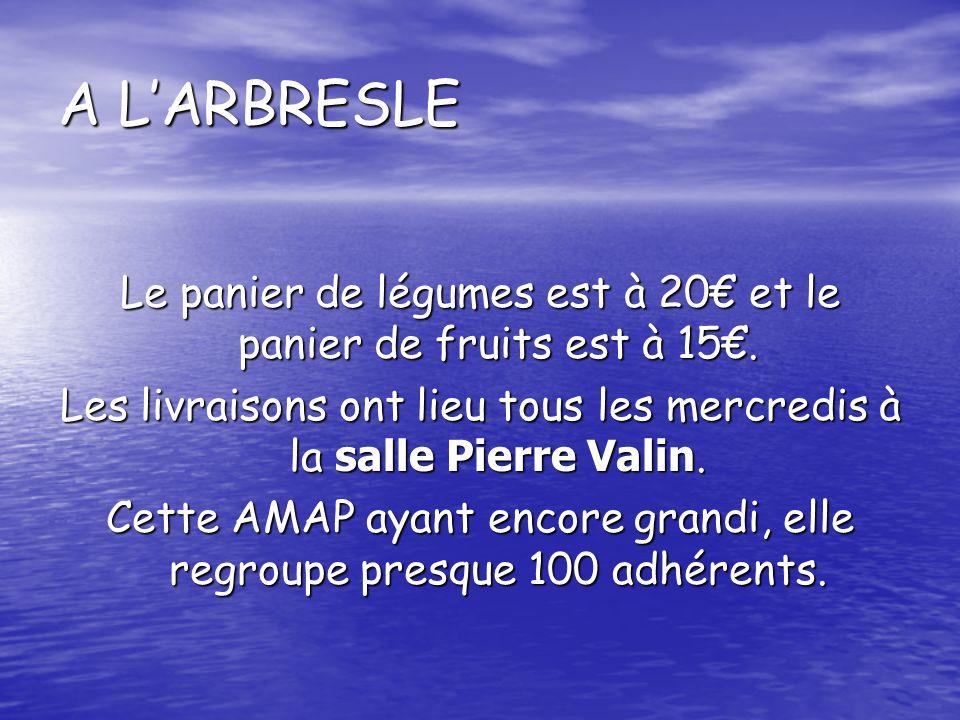 A LARBRESLE Le panier de légumes est à 20 et le panier de fruits est à 15.