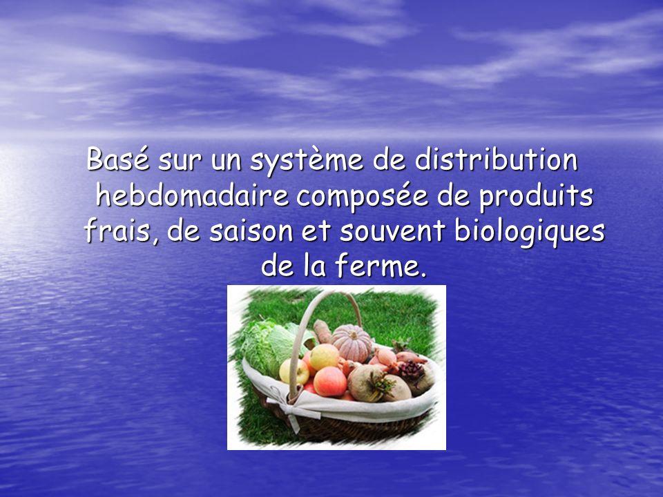 Basé sur un système de distribution hebdomadaire composée de produits frais, de saison et souvent biologiques de la ferme.