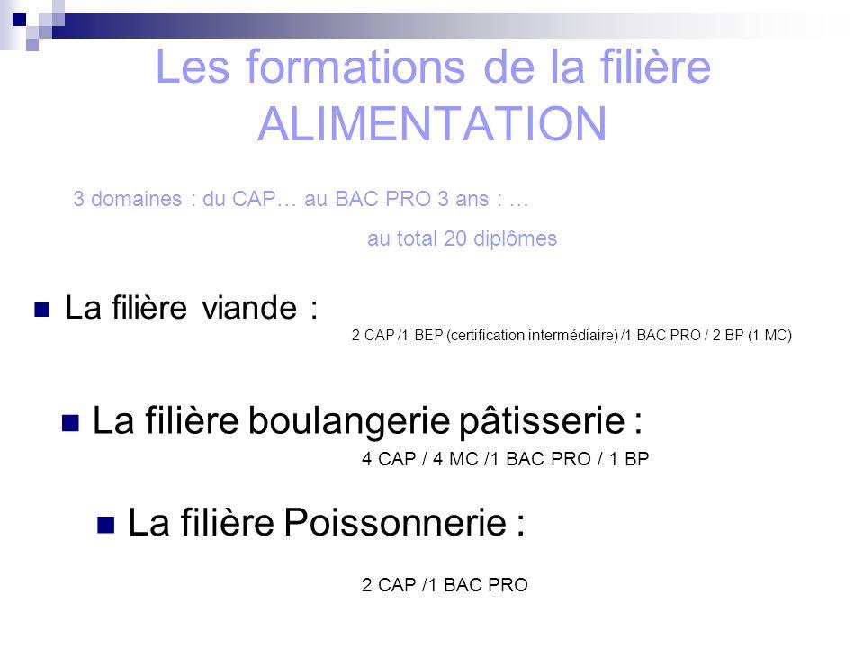Les formations de la filière ALIMENTATION La filière viande : 2 CAP /1 BEP (certification intermédiaire) /1 BAC PRO / 2 BP (1 MC) La filière Poissonnerie : 2 CAP /1 BAC PRO La filière boulangerie pâtisserie : 4 CAP / 4 MC /1 BAC PRO / 1 BP 3 domaines : du CAP… au BAC PRO 3 ans : … au total 20 diplômes