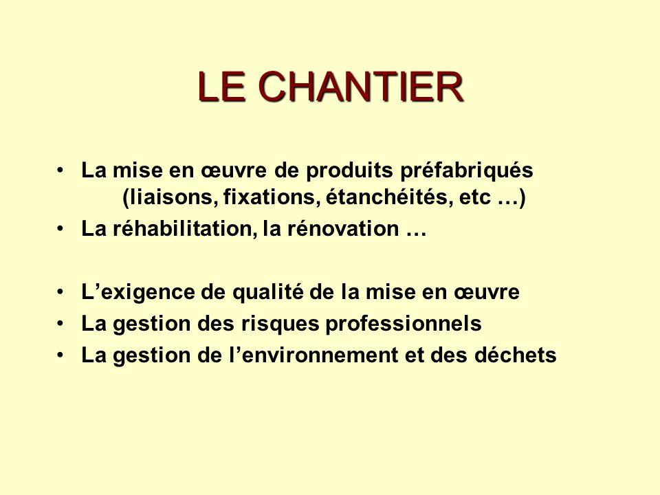LE CHANTIER La mise en œuvre de produits préfabriqués (liaisons, fixations, étanchéités, etc …) La réhabilitation, la rénovation … Lexigence de qualit