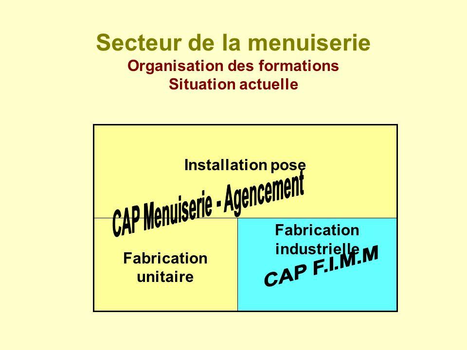 Secteur de la menuiserie Organisation des formations Situation actuelle Fabrication industrielle Fabrication unitaire Installation pose