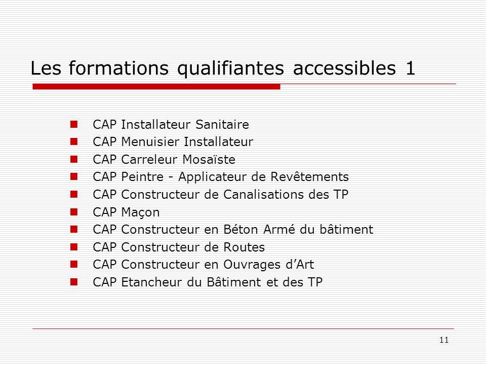 11 Les formations qualifiantes accessibles 1 CAP Installateur Sanitaire CAP Menuisier Installateur CAP Carreleur Mosaïste CAP Peintre - Applicateur de