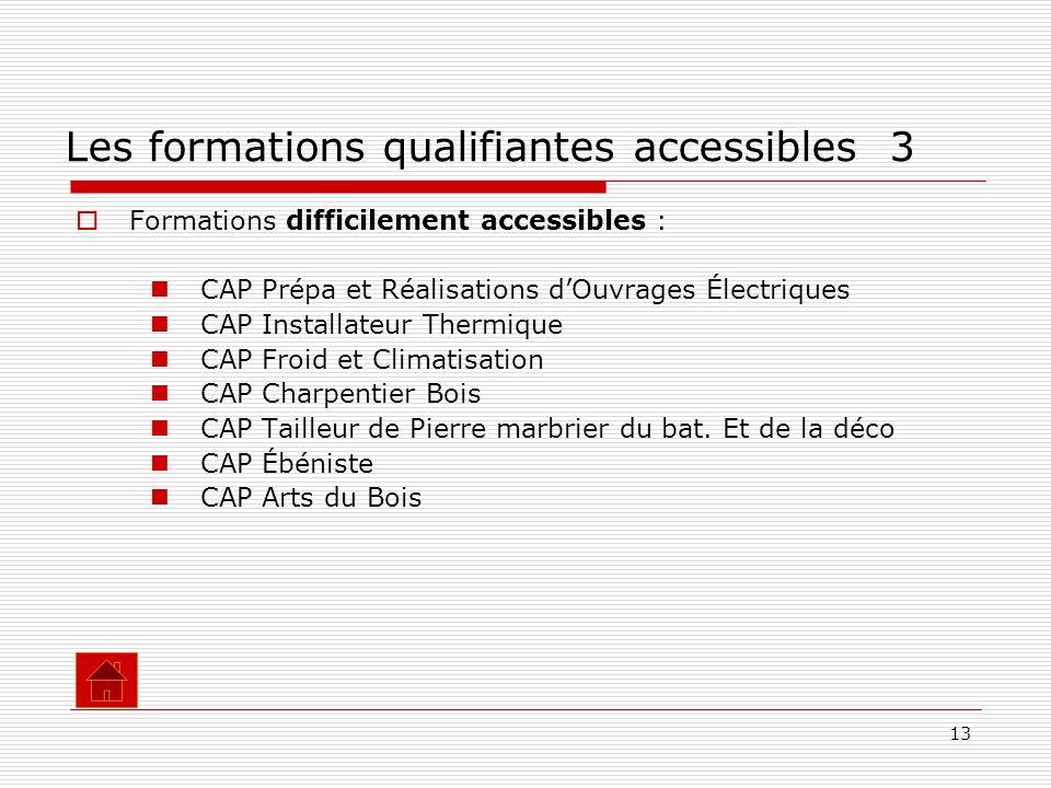13 Formations difficilement accessibles : CAP Prépa et Réalisations dOuvrages Électriques CAP Installateur Thermique CAP Froid et Climatisation CAP Ch