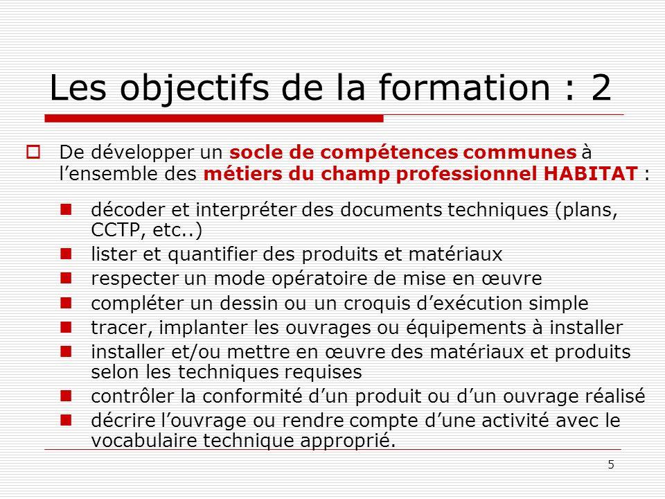 5 De développer un socle de compétences communes à lensemble des métiers du champ professionnel HABITAT : décoder et interpréter des documents techniq