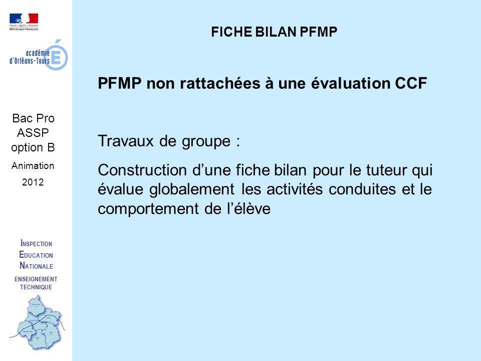 I NSPECTION E DUCATION N ATIONALE ENSEIGNEMENT TECHNIQUE Bac Pro ASSP option B Animation 2012 FICHE BILAN PFMP PFMP non rattachées à une évaluation CC