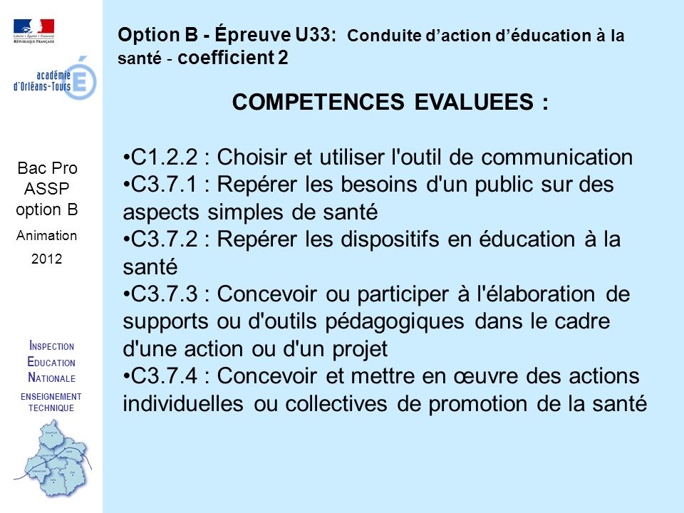 I NSPECTION E DUCATION N ATIONALE ENSEIGNEMENT TECHNIQUE Bac Pro ASSP option B Animation 2012 Option B - Épreuve U33: Conduite daction déducation à la