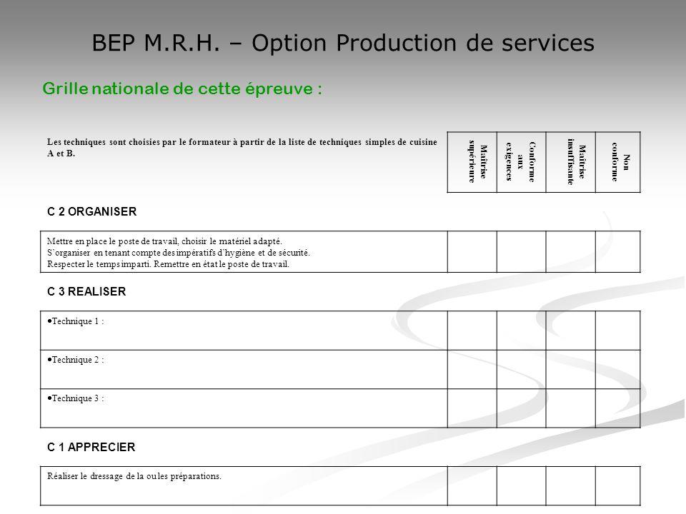 BEP M.R.H. – Option Production de services Les techniques sont choisies par le formateur à partir de la liste de techniques simples de cuisine A et B.
