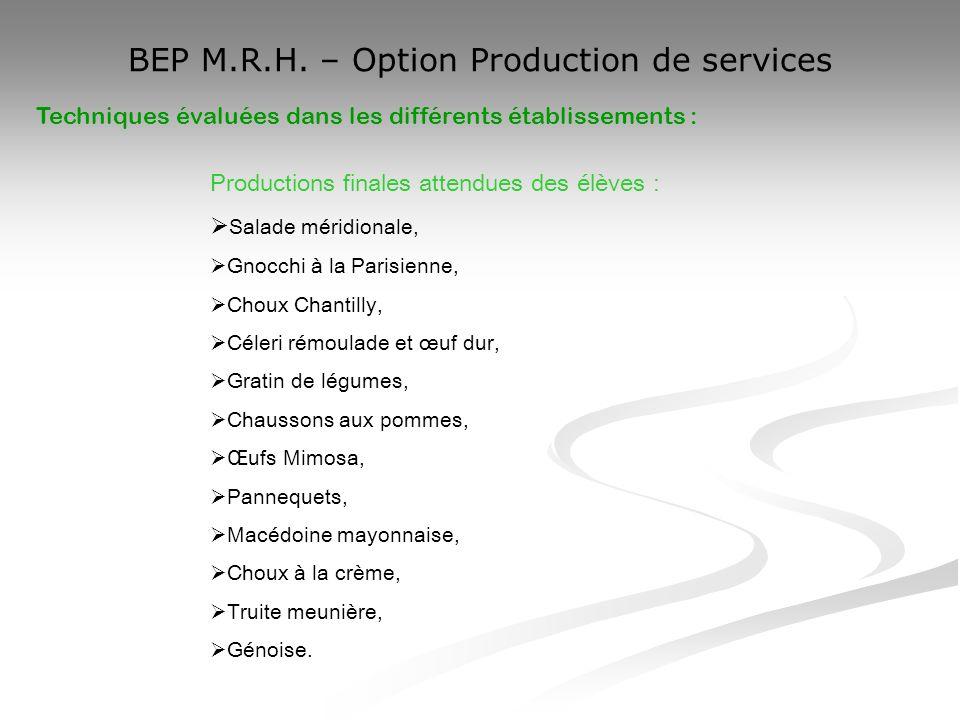 BEP M.R.H. – Option Production de services Techniques évaluées dans les différents établissements : Productions finales attendues des élèves : Salade
