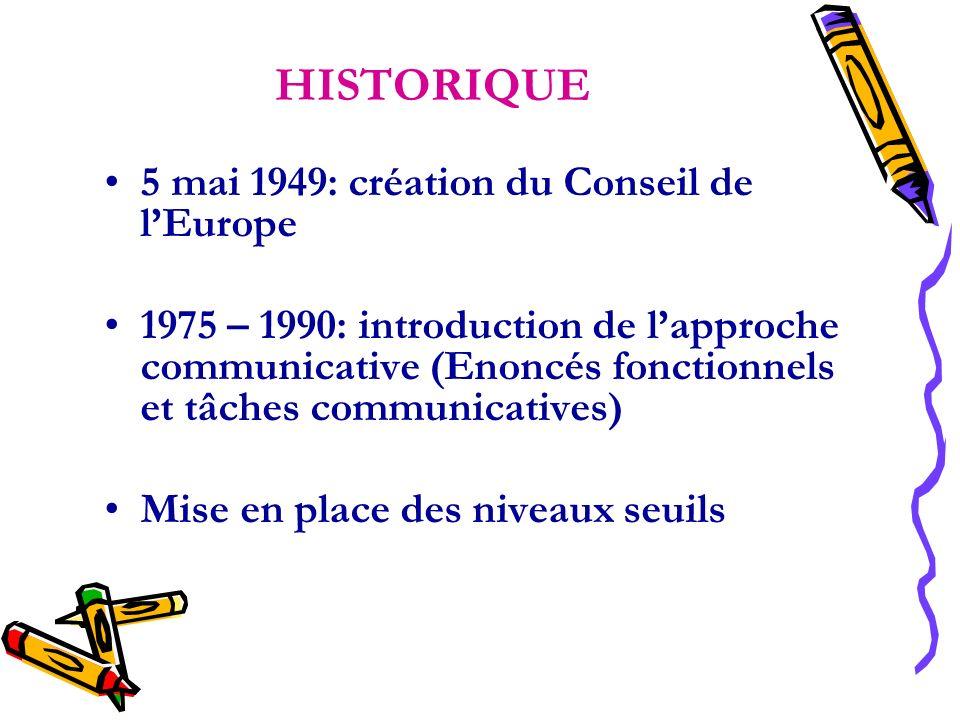 HISTORIQUE 5 mai 1949: création du Conseil de lEurope 1975 – 1990: introduction de lapproche communicative (Enoncés fonctionnels et tâches communicati