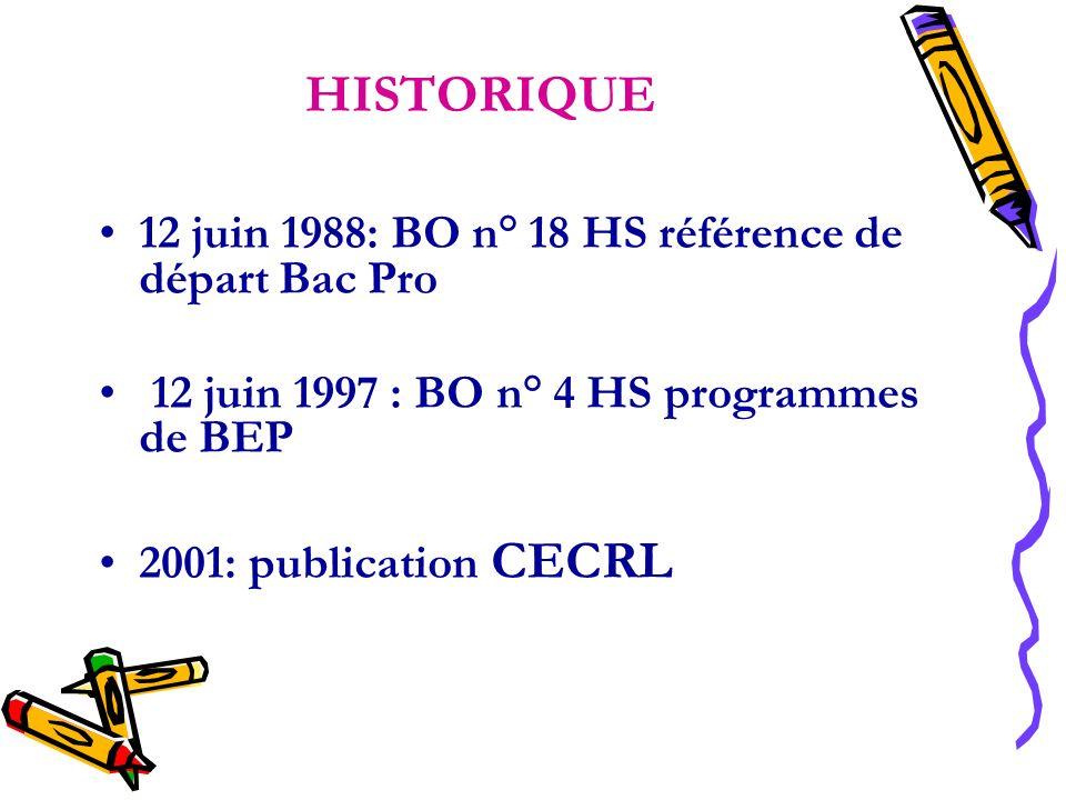 HISTORIQUE 12 juin 1988: BO n° 18 HS référence de départ Bac Pro 12 juin 1997 : BO n° 4 HS programmes de BEP 2001: publication CECRL