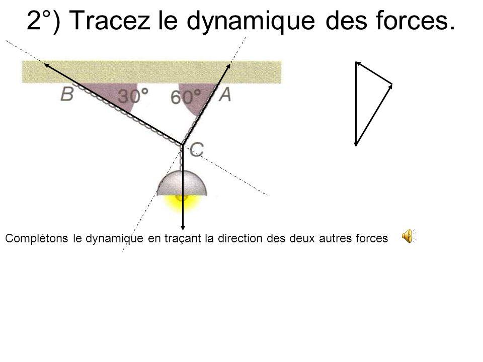 2°) Tracez le dynamique des forces. La force exercée par la chaînette et la lampe est entièrement déterminée et on peut la représenter. -P-Point dappl