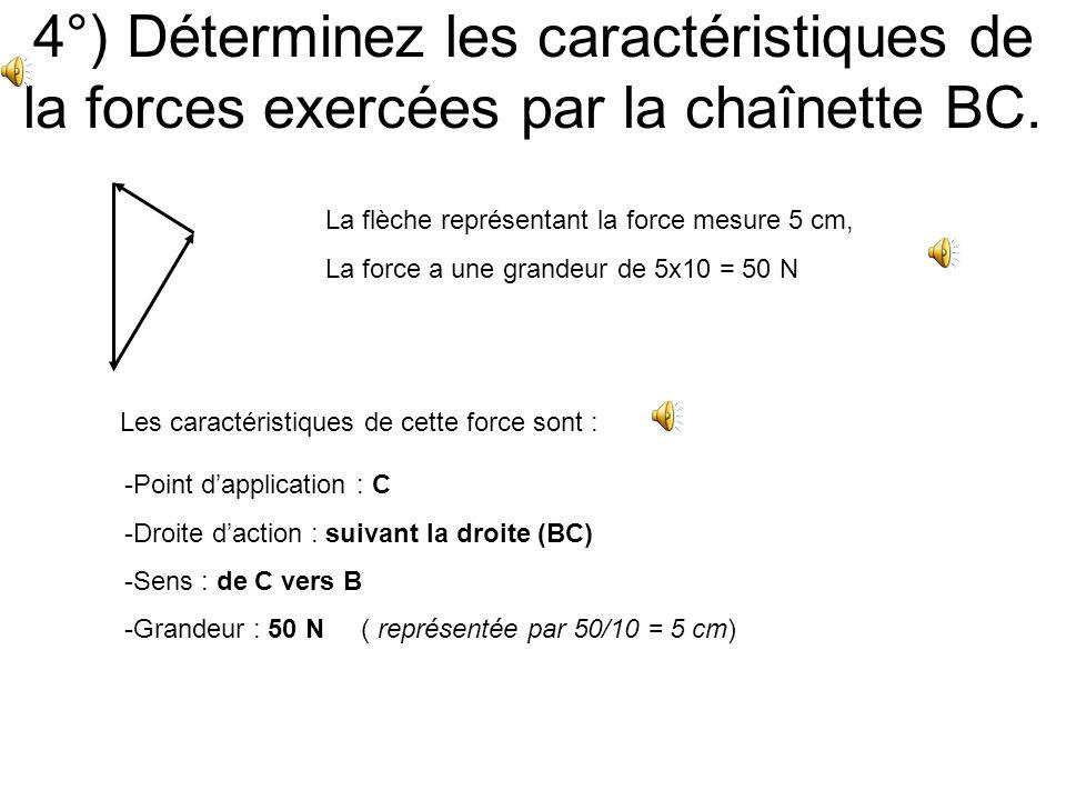 3°) Déterminez les caractéristiques de la forces exercées par la chaînette AC. La flèche représentant la force mesure 8,7 cm, La force a une grandeur