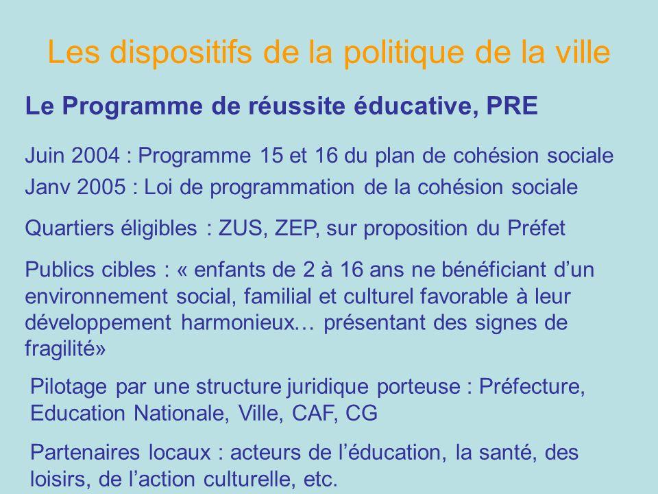 Les dispositifs de la politique de la ville Le Programme de réussite éducative, PRE Juin 2004 : Programme 15 et 16 du plan de cohésion sociale Janv 20