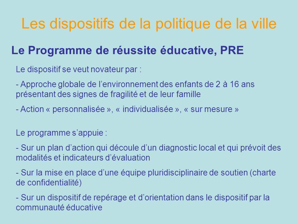 Les dispositifs de la politique de la ville Le Programme de réussite éducative, PRE Le dispositif se veut novateur par : - Approche globale de lenviro
