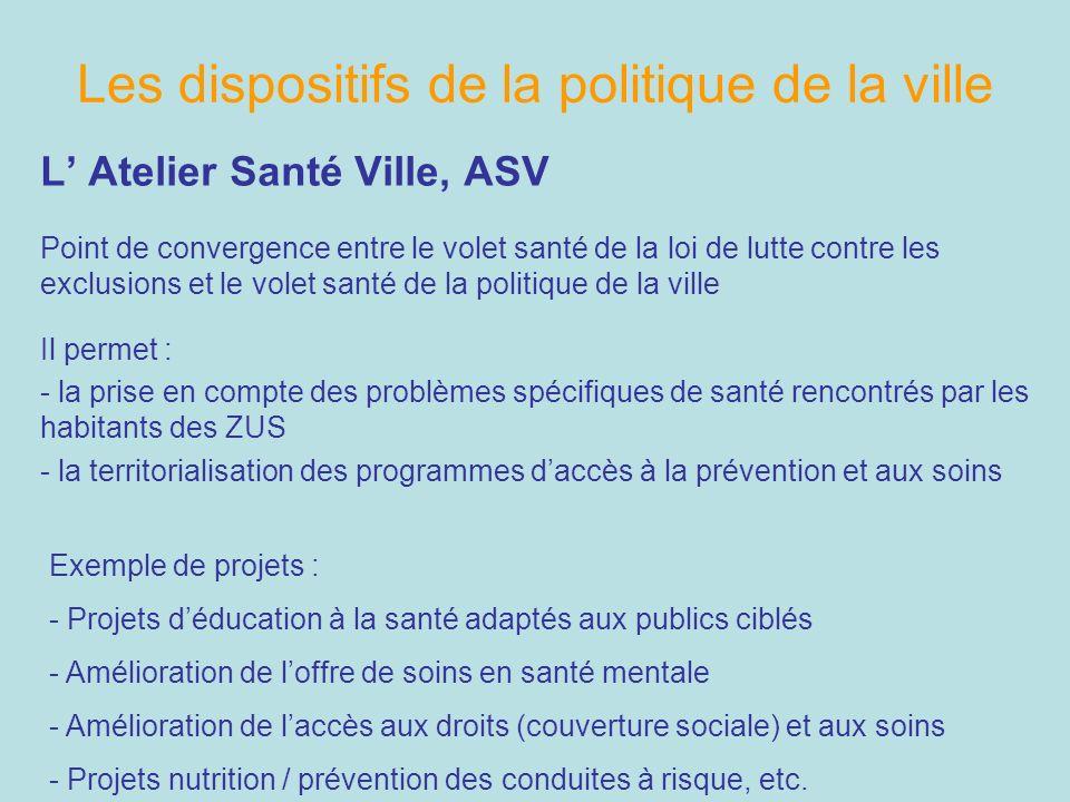 Les dispositifs de la politique de la ville L Atelier Santé Ville, ASV Point de convergence entre le volet santé de la loi de lutte contre les exclusi