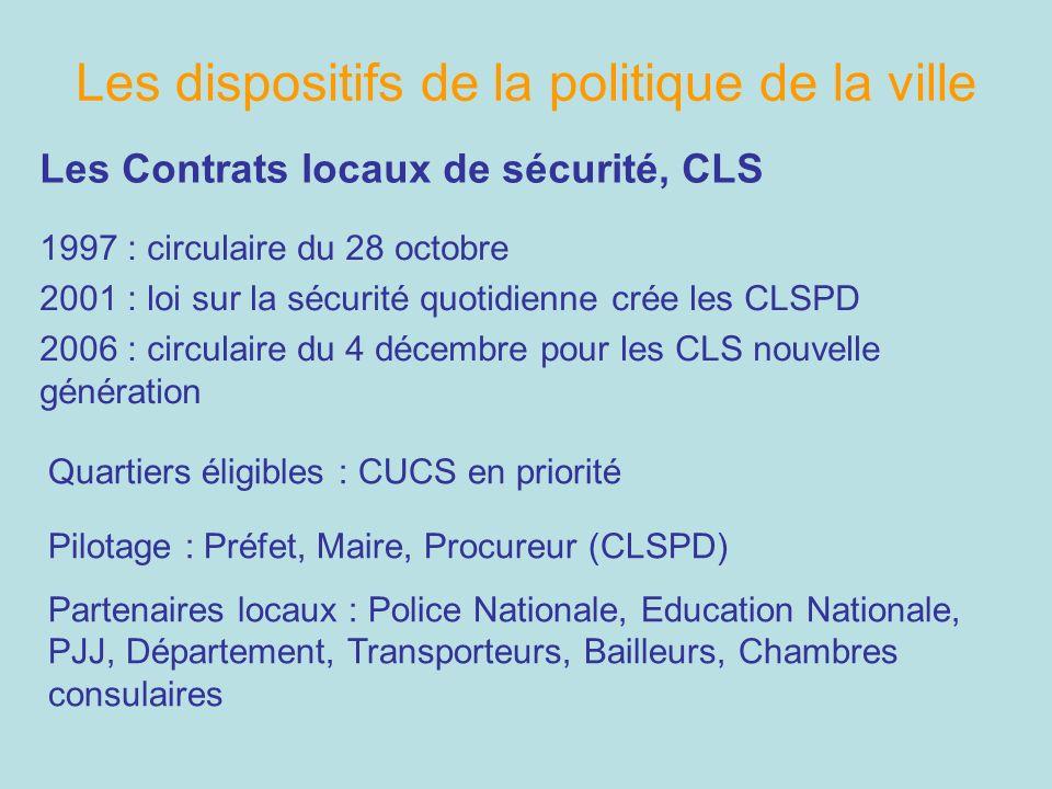 Les dispositifs de la politique de la ville Les Contrats locaux de sécurité, CLS 1997 : circulaire du 28 octobre 2001 : loi sur la sécurité quotidienn