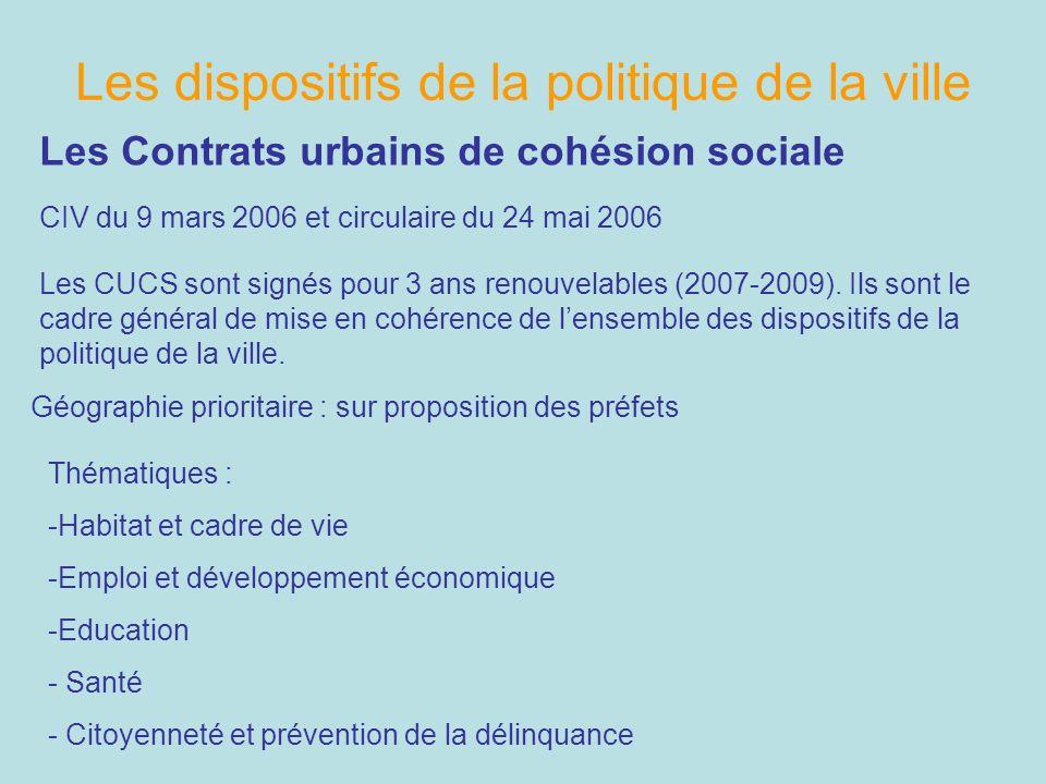 Les dispositifs de la politique de la ville Les Contrats urbains de cohésion sociale CIV du 9 mars 2006 et circulaire du 24 mai 2006 Géographie priori